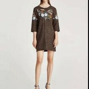 Zara Tweed Embroidered Dress Mini